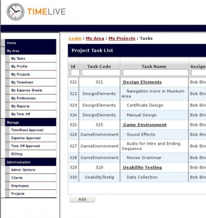 TimeLive adding project task