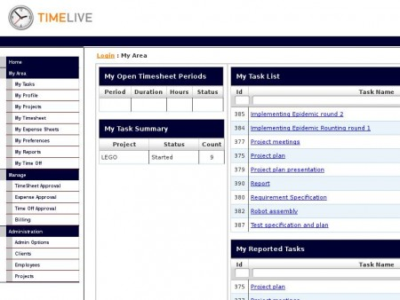TimeLive time tracking software