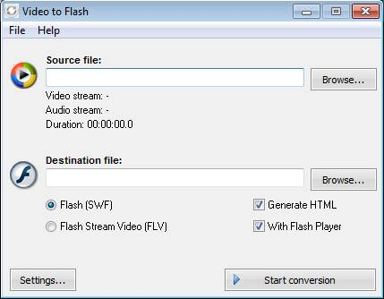 Free Video to Flash Converter default window
