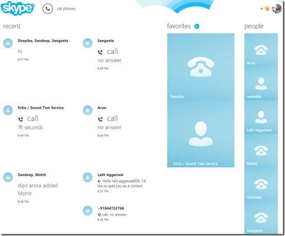 Windows 8 Skype app