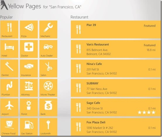 Windows 8 Yellow Pages App