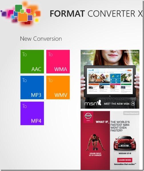 Windows 8 media format converter app