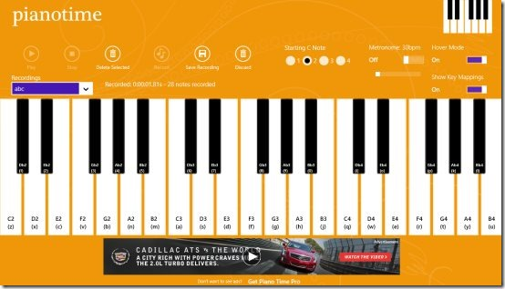 Windows 8 piano app