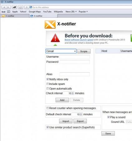 X-notifier Safari window