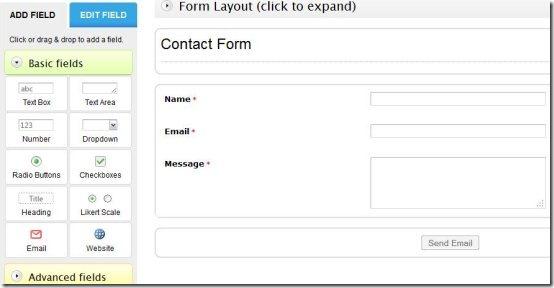 create an online form fields