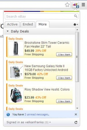 eBay Anywhere Google Chrome default