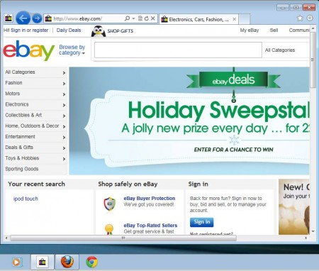 eBay Anywhere Internet Explorer default