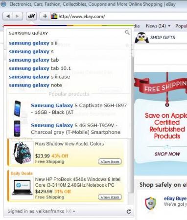 eBay Anywhere Safari addon