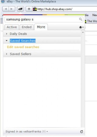 eBay Anywhere Safari saved searches