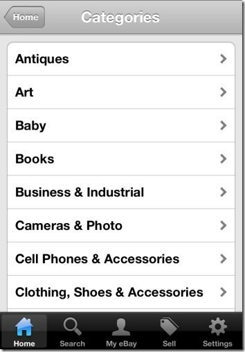 eBay for iPhone categories