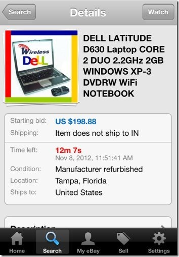 eBay for iPhone interface