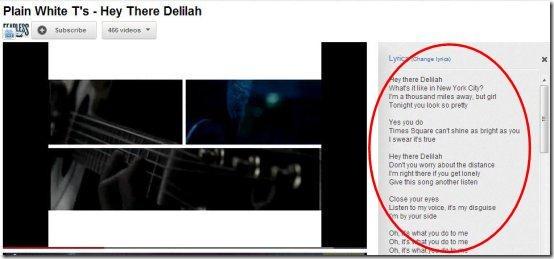 lyrics for google chrome lyrics