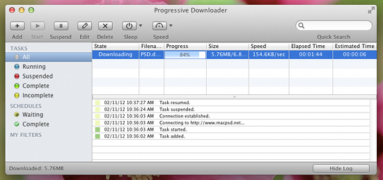 progressive downloader screenshot