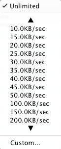 progressive downloader speed limit