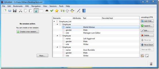 qxmledit xml editor interface
