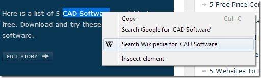 right click search wikipedia interafce