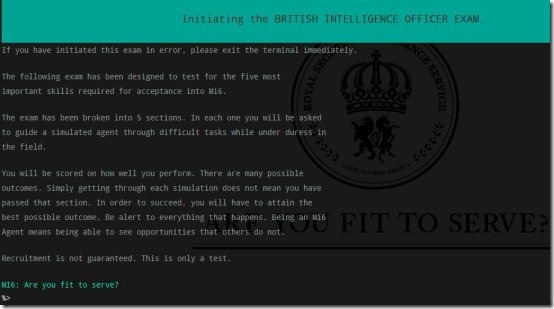 text adventure game MI6 are you fit