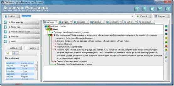 the sage's dictionary software interface