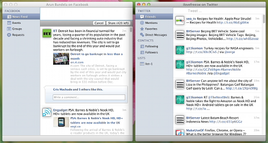 trillian facebook and twitter integration
