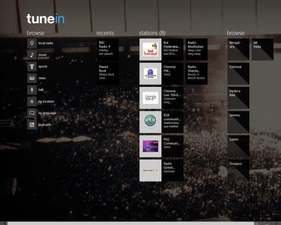 tunein radio windows 8 screen shot