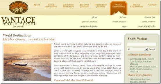 vantage travel website