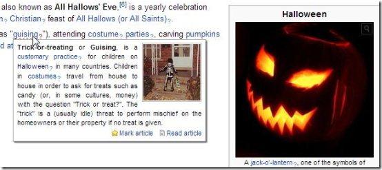 wikipedia quick hints interface
