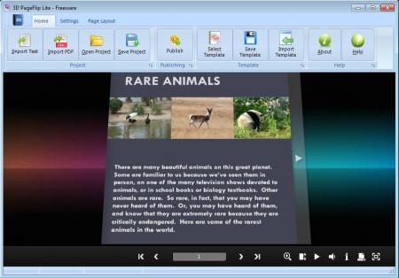 3DPageFlip Lite free flip book software default window