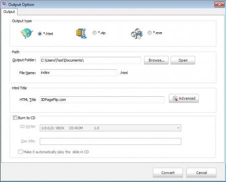 3DPageFlip Lite exporting flip book