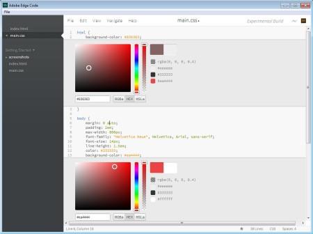Adobe Edge Code CSS editing