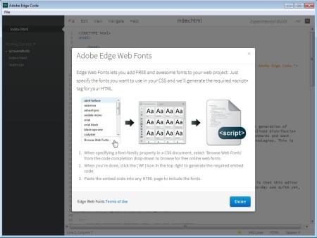 Adobe Edge Code HTML Editor default window