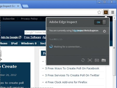 Adobe Edge Inspect turning on