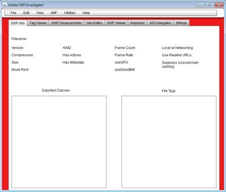 Adobe SWF Investigator free SWF analysis software default window