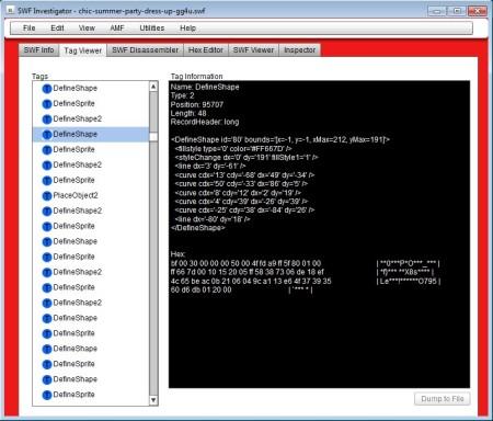 Adobe SWF Investigator tag viewer