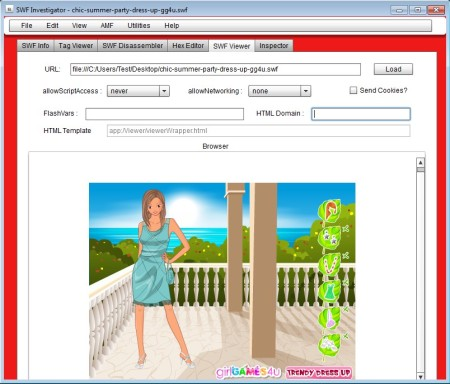 Adobe SWF Investigator viewing SWF file