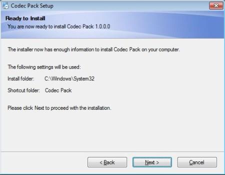 Codec Pack free codec installer default window