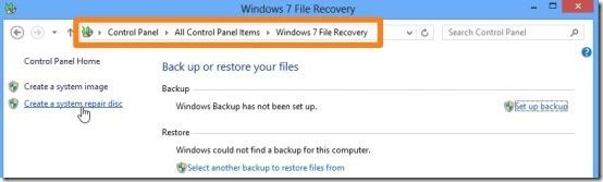 Create a system repair disc in windows 8
