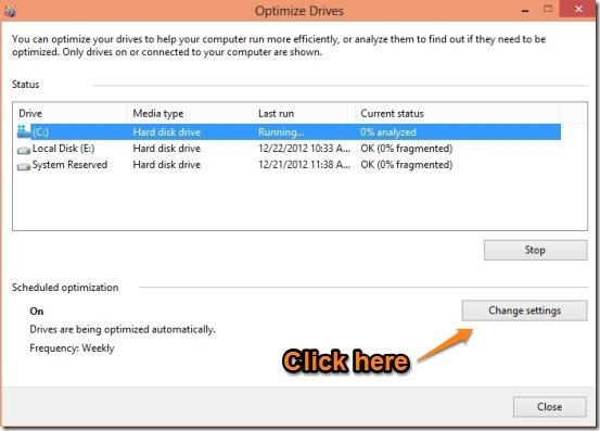 Defragmenting Drive in windows 8