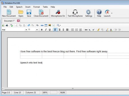Dictation Pro dictating text