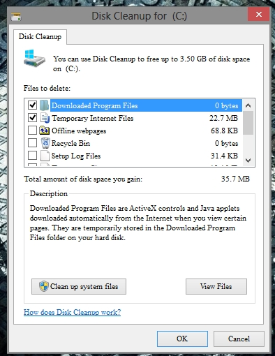 Disk Cleanup In Windows 8