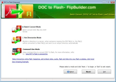 Doc To Flash free word to flash converter default window