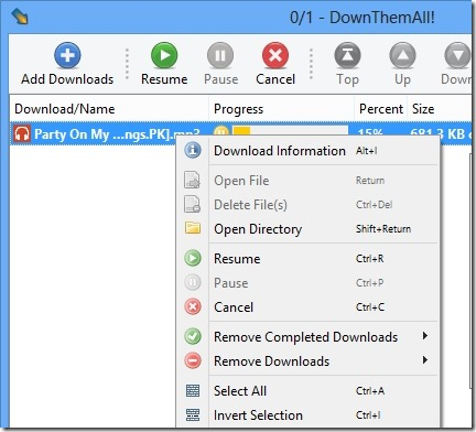DownThemAll! 02 manage your download