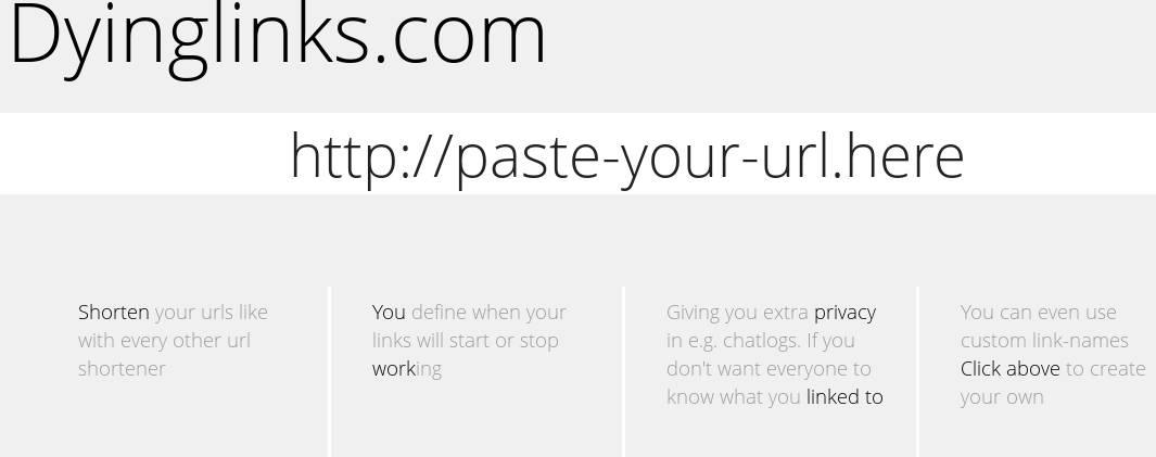 Dyinglinks online URL shortening default window