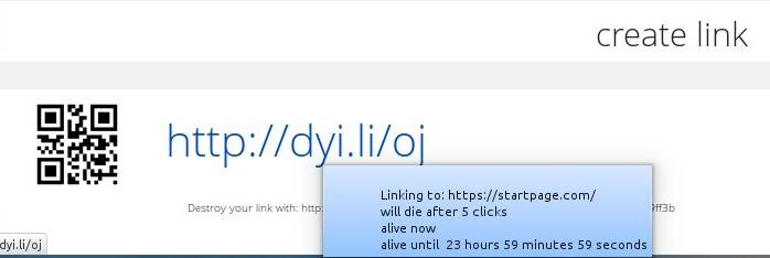 Dyinglinks link generated