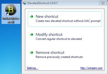 ElevatedShortcut created shortcut