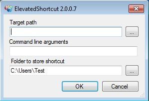 ElevatedShortcut creating shortcut
