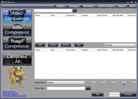 File Sizer free file compressor default window
