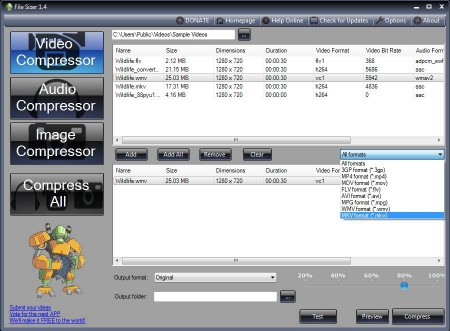 File Sizer video compressing