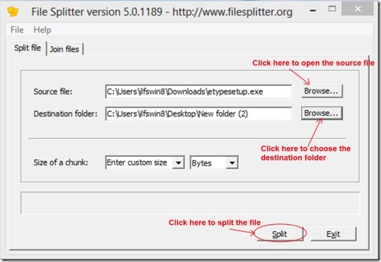 File Splitter 03 split files