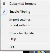 Formats Customizer tray menu