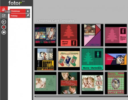 Fotor to create Christmas cards default window